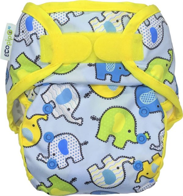 Ecopipo One size PUL Nappy Wrap Blue Elephants