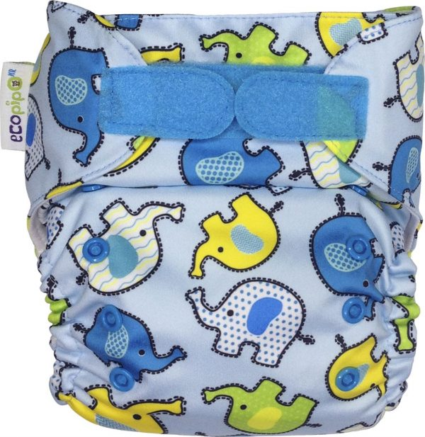 Ecopipo One size Pocket Nappy Blue Elephants