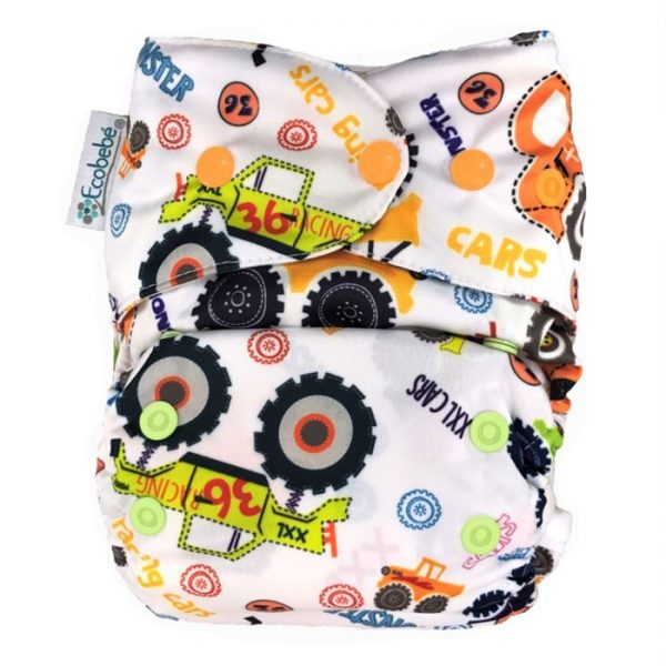 Ecobebe Onesize All in Two cloth nappy Monster trucks