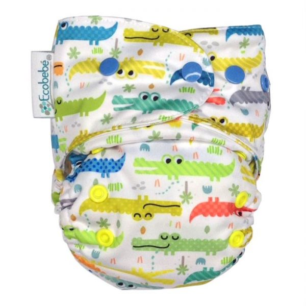 Ecobebe Onesize All in Two cloth nappy alligators