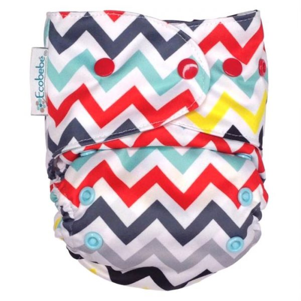 Ecobebe Onesize All in Two cloth nappy chevron