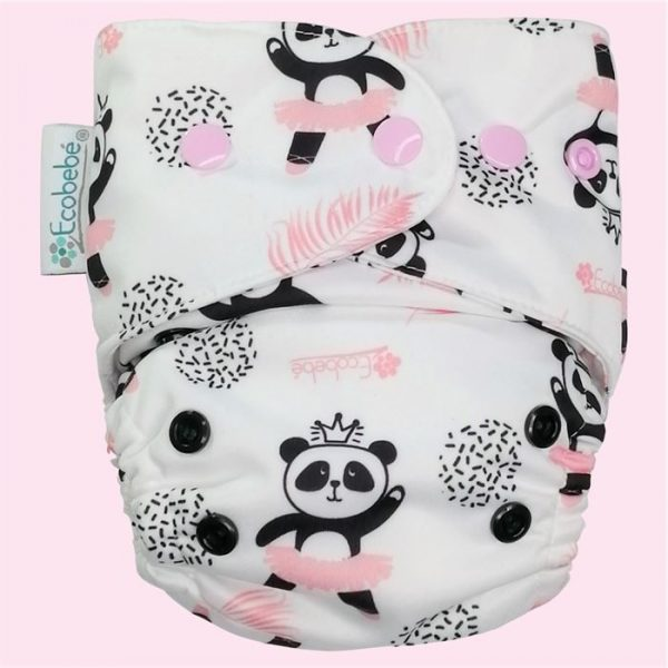 Ecobebe Onesize All in Two cloth nappy dancing pandas