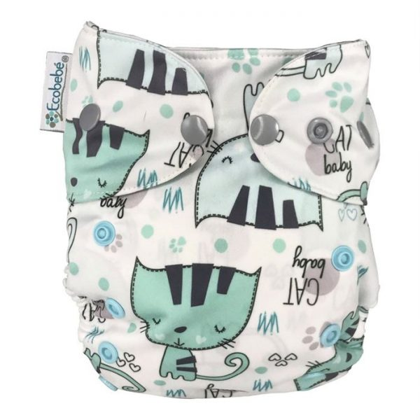 Ecobebe Onesize All in Two cloth nappy kittens