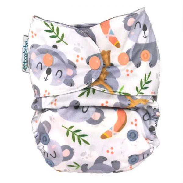 Ecobebe Onesize All in Two cloth nappy koalas