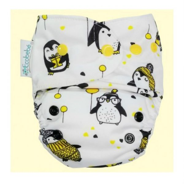 Ecobebe Onesize All in Two cloth nappy penguins
